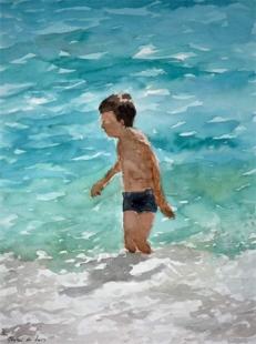 Niño en la orilla